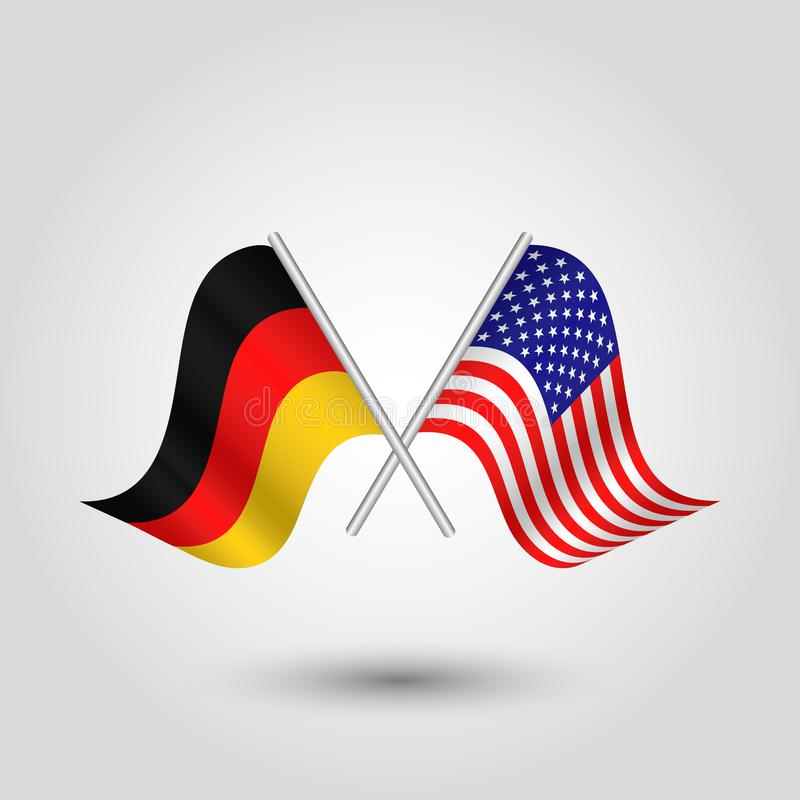 Vector Two Crossed German And American Flags On Silver Sticks Stock