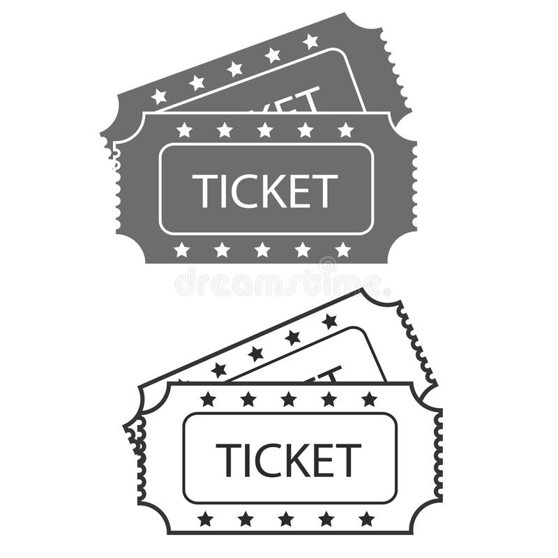 Vector two designed cinema tickets close up top view isolated on. White background royalty free illustration