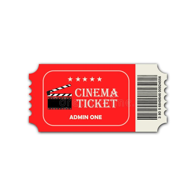 Vector two designed cinema tickets close up top view isolated on white background. Vector two designed cinema tickets close up top view isolated on white royalty free illustration