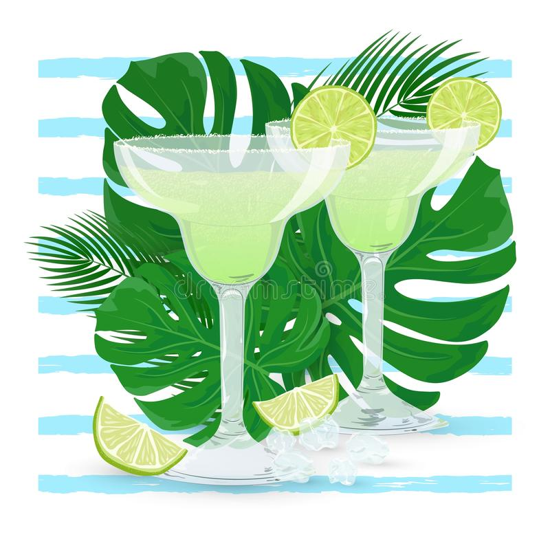Vector two glasses of Margarita cocktail with tropic leaves. Vector illustration of two glasses of classic Margarita cocktail with tropic leaves on blue striped stock illustration