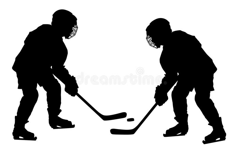 Vector of two hockey players with sticks and a washer duel. Shoots the puck and attacks . Skating on ice. Hockey game on ice. Battle for the win royalty free illustration