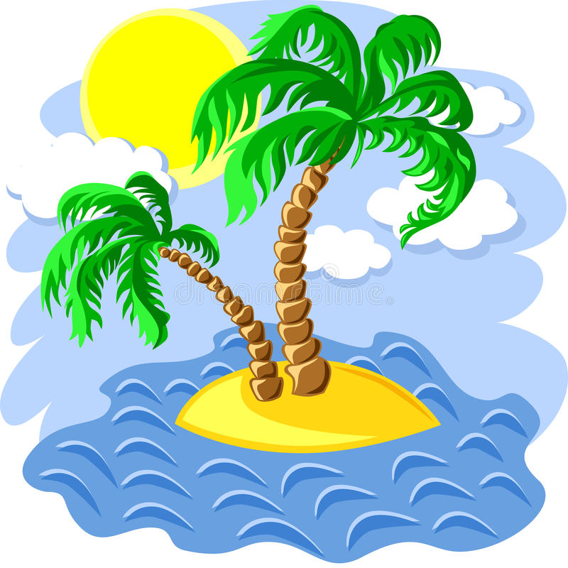 Download Vector Two Palm Trees On An Island In The Ocean Stock Vector - Image: 19619255
