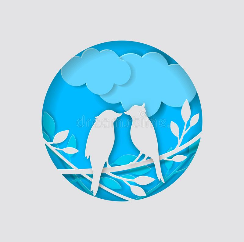 Paper birds and branch on a blue background. Vector two paper birds, clouds and branch on a blue background vector illustration