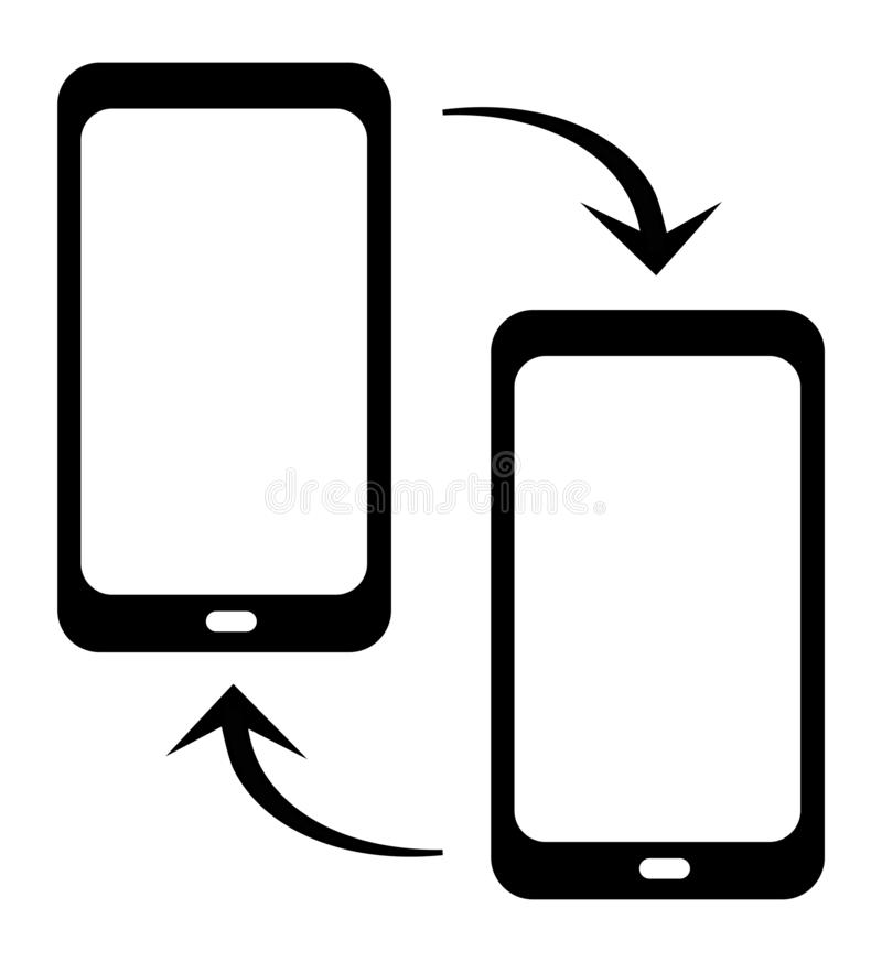 Vector two smartphone with arrows swap symbol. exchange. Vector smartphone with swap arrows symbol for web and design usage. exchange royalty free illustration