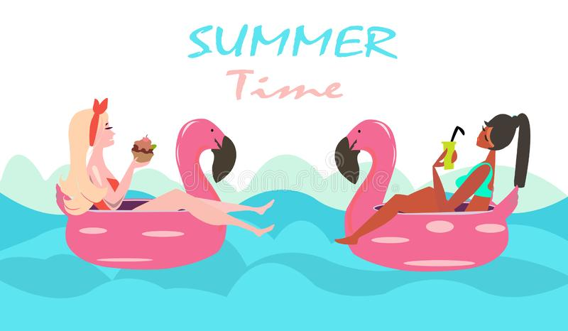 Vector of two women swimming with pink flamingo pool float royalty free illustration