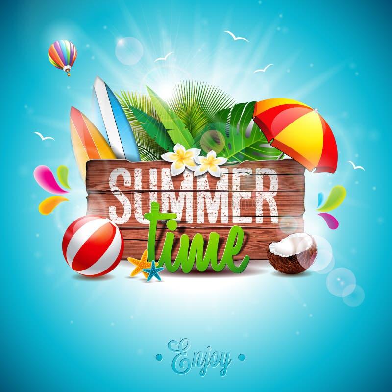 Vector typografische Illustration des Sommerzeit-Feiertags auf Weinleseholzhintergrund Tropische Anlagen, Blume, Wasserball und S lizenzfreie abbildung