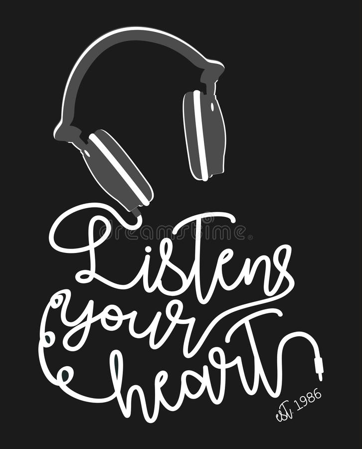 Vector typography listen your heart stock illustration