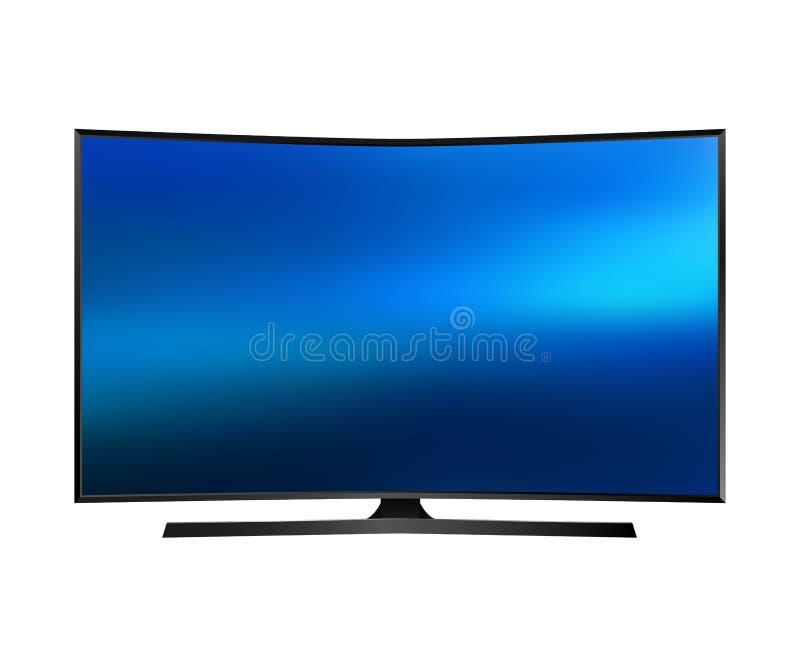 Vector UHD Smart TV con la pantalla curvada en el fondo blanco ilustración del vector