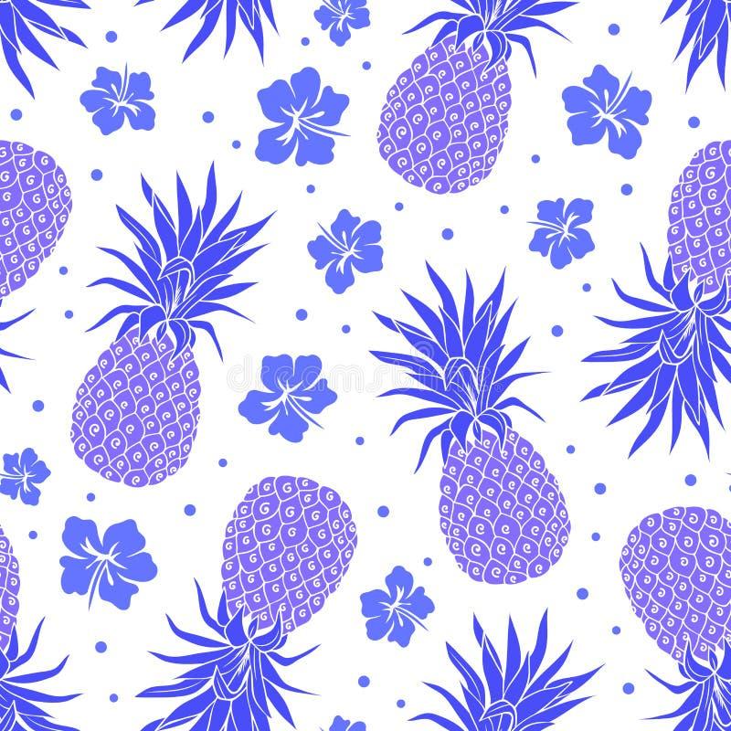 Vector Uitstekend ananas naadloos patroon vector illustratie