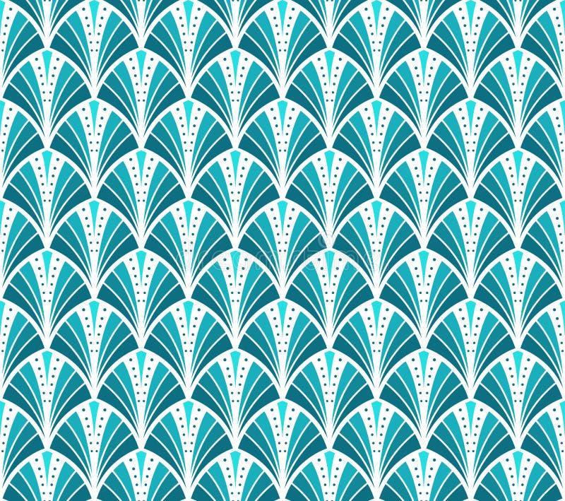 Vector Uitstekend Art Deco Seamless Pattern Golvende textuur met cirkels Retro modieuze achtergrond vector illustratie