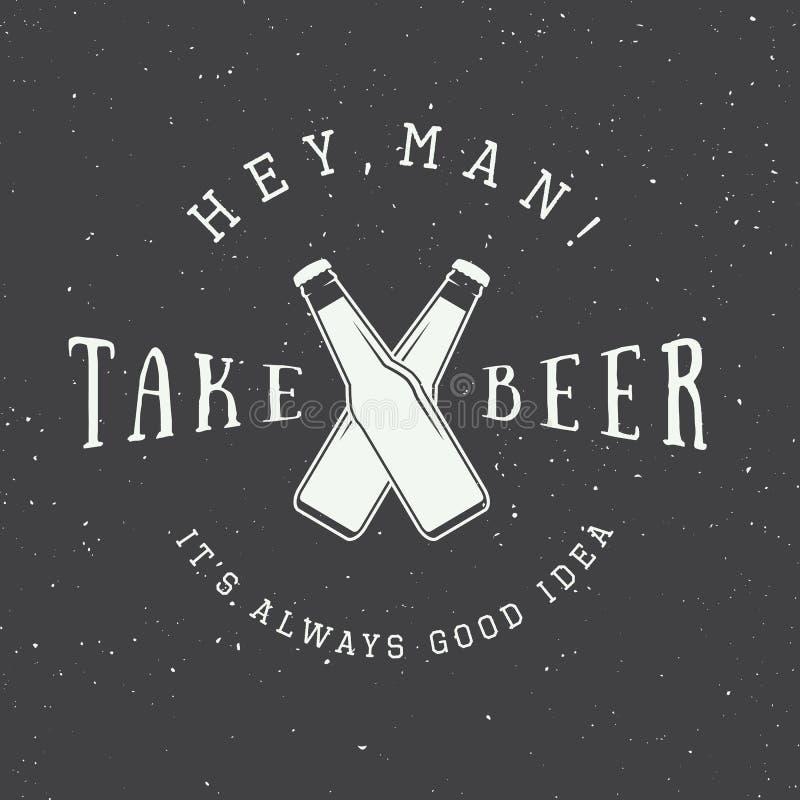 Vector uitstekend bierembleem met slogan en pretmotivatie stock illustratie