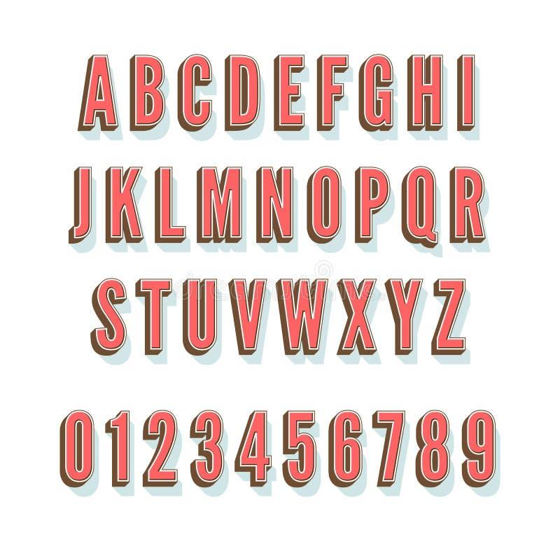 Vector uitstekend 3D alfabet met schaduw en volume stock illustratie