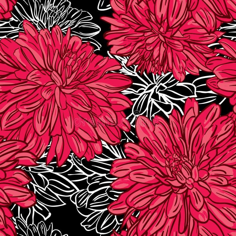 Vector uitstekend naadloos bloemenpatroon met pioenen stock illustratie
