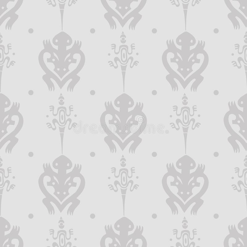 Vector uitstekend naadloos etnisch patroon met hagedissen en schildpadden in Maoristijl royalty-vrije illustratie