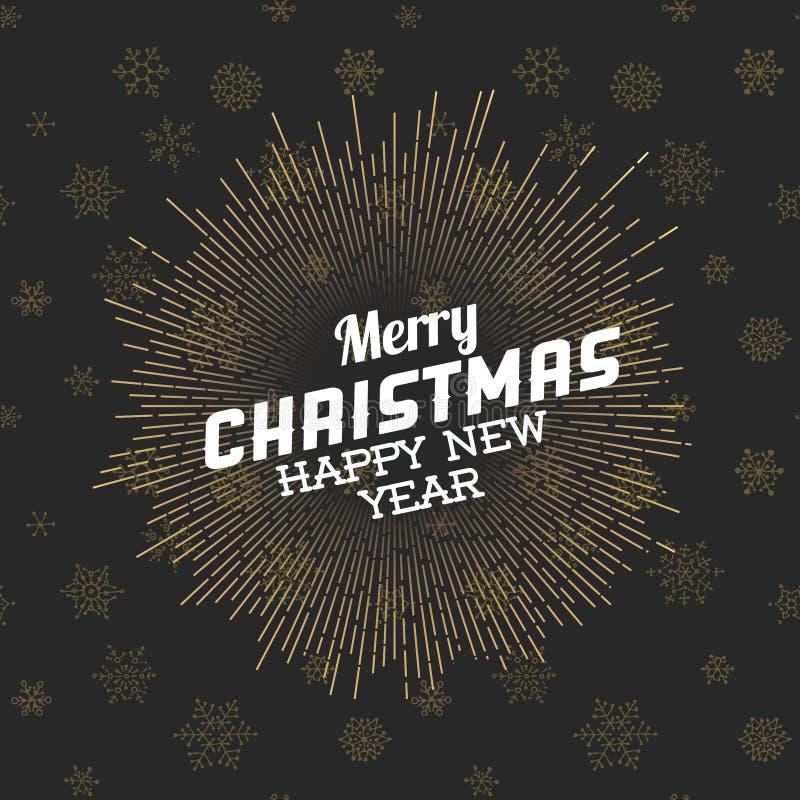 Vector Uitstekend retro Kerstmisetiket stock illustratie