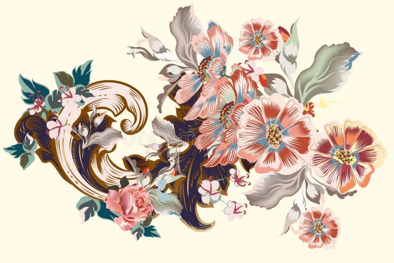 Vector uitstekend Victoriaans ornament met bloemen vector illustratie