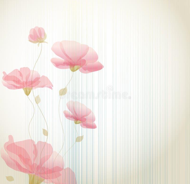 Vector uitstekende achtergrond met bloemen stock illustratie