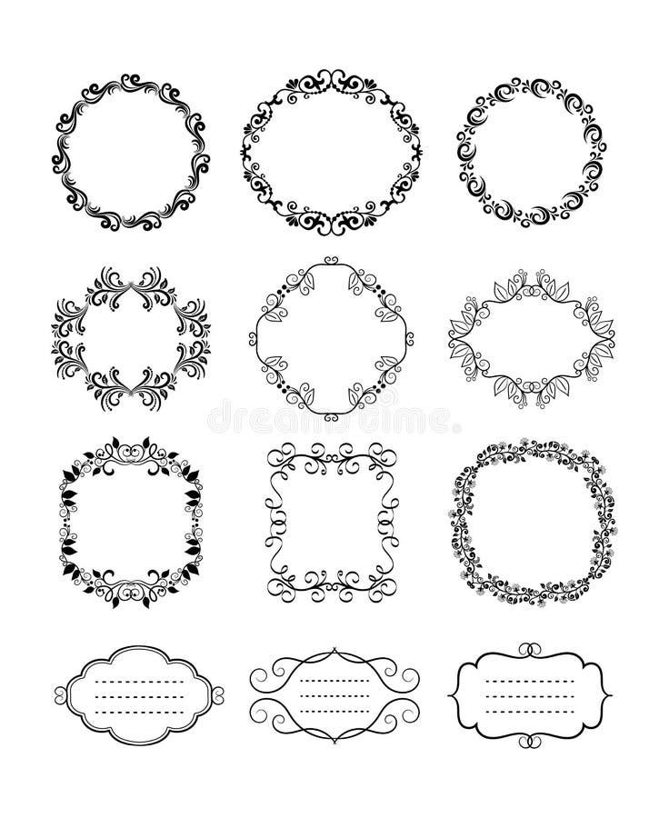 Vector Uitstekende Bloemen Sierkaders royalty-vrije illustratie