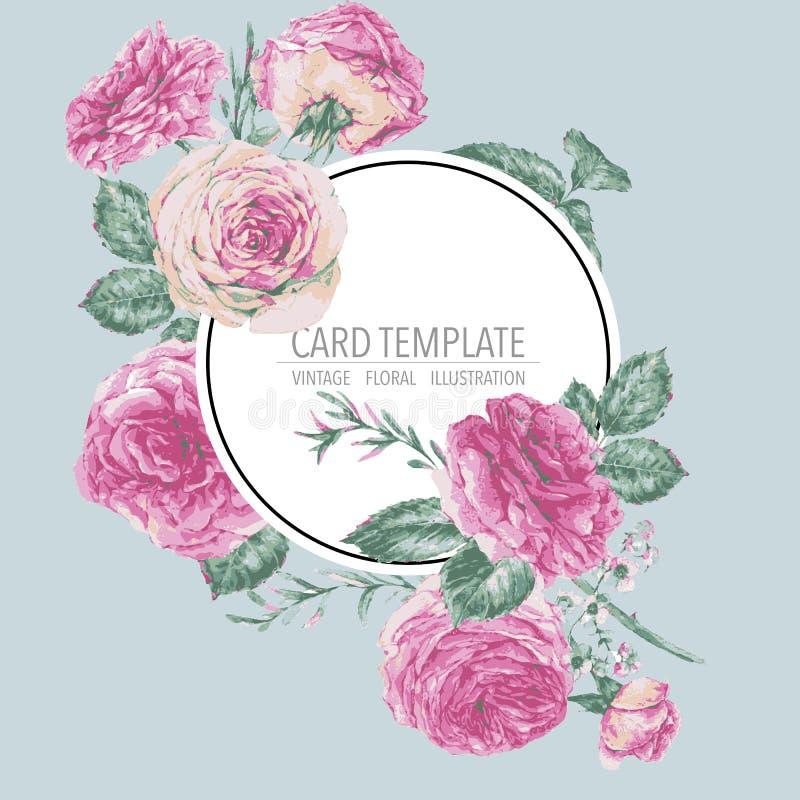 Vector uitstekende bloemengroetkaart met roze rozen stock illustratie