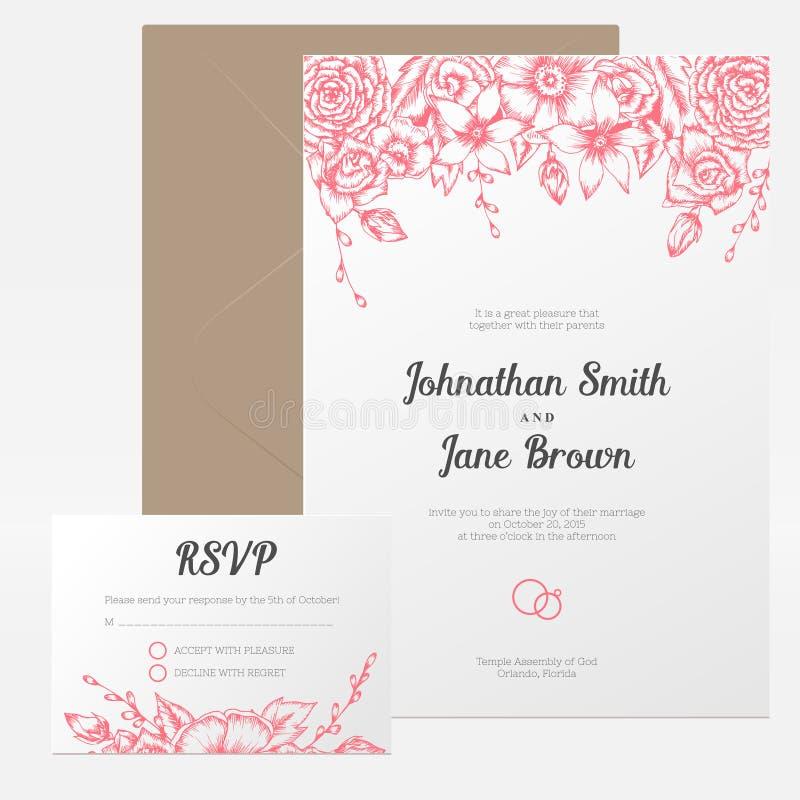 Vector uitstekende bloemenhuwelijksuitnodiging royalty-vrije illustratie