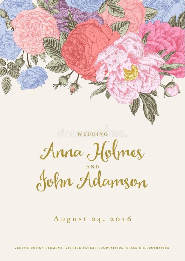 Vector uitstekende bloemenhuwelijksuitnodiging stock illustratie