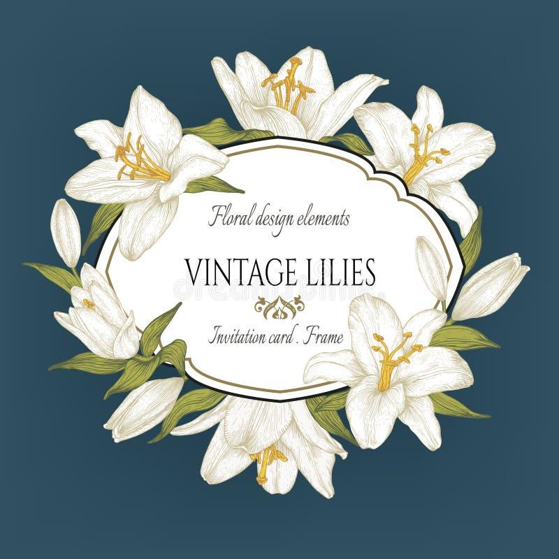 Vector uitstekende bloemenkaart met een kader van witte lelies op blauwe achtergrond royalty-vrije illustratie