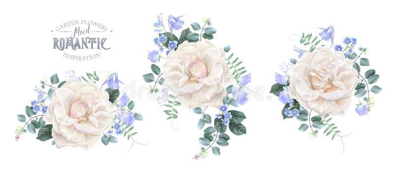 Vector uitstekende bloemenreeks met witte rozen vector illustratie
