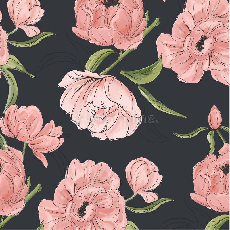 Vector uitstekende bloemensamenstelling die met pioen hand-drawn bloemen en groenbladeren wordt geplaatst De stoffen van de tuind royalty-vrije illustratie
