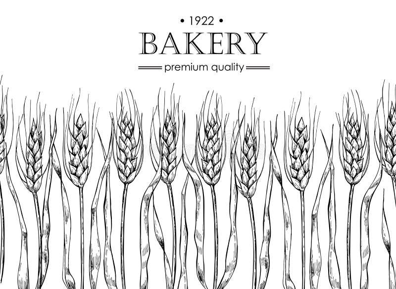 Vector uitstekende brood en bakkerijillustratie Hand getrokken banner stock illustratie
