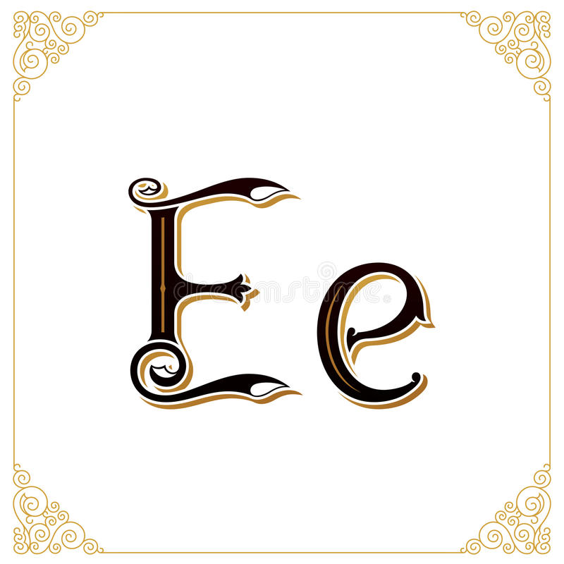 Vector uitstekende doopvont Brief en monogram in de kalligrafische stijl Het kwalitatieve handwerk stock illustratie