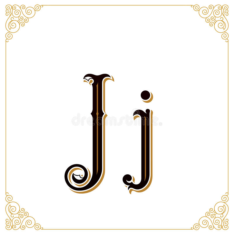 Vector uitstekende doopvont Brief en monogram in de kalligrafische stijl Het kwalitatieve handwerk royalty-vrije illustratie