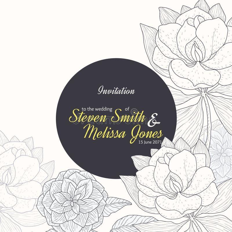 Vector Uitstekende Gele Zwarte het Huwelijksuitnodiging van de Kader Bloementekening met Modieuze Bloemen en Tekst in Klassieke R stock illustratie