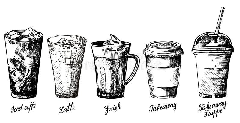 Vector uitstekende hand getrokken geplaatste koffietypes stock illustratie