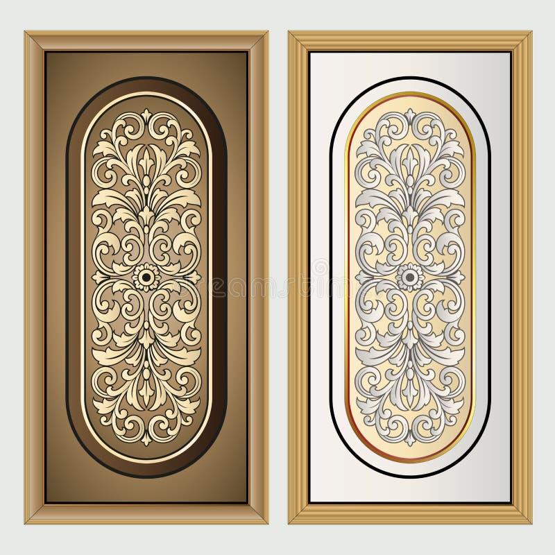 Vector uitstekende het embleemgravure van het grenskader met retro ornamentpatroon in het antieke decoratieve ontwerp van de roco royalty-vrije illustratie