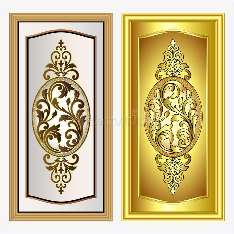 Vector uitstekende het embleemgravure van het grenskader met retro ornamentpatroon in het antieke decoratieve ontwerp van de roco vector illustratie