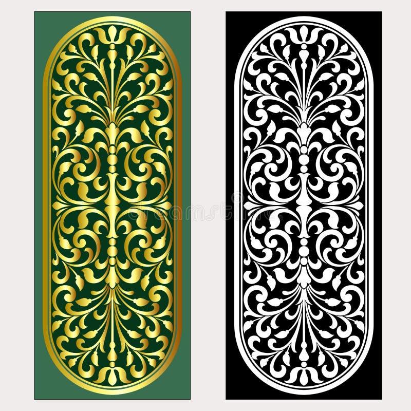 Vector uitstekende het embleemgravure van het grenskader met retro ornamentpatroon in het antieke decoratieve ontwerp van de roco stock illustratie
