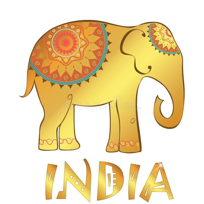 Vector uitstekende Indische die olifantsillustratie op wit wordt geïsoleerd royalty-vrije illustratie