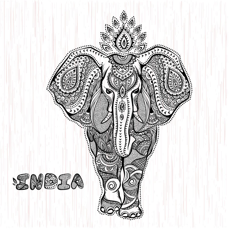 Vector uitstekende Indische olifantsillustratie stock illustratie