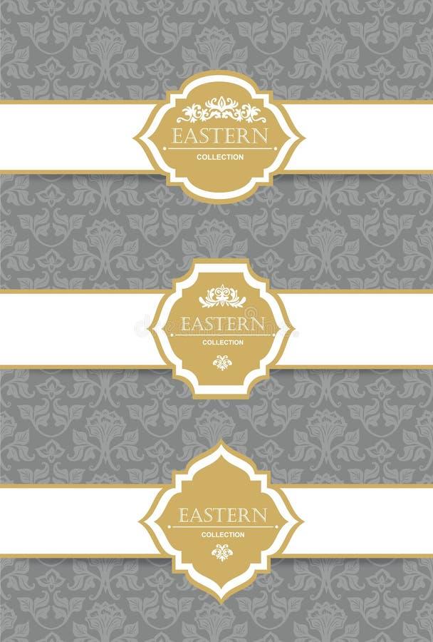 Vector uitstekende inzameling: Barokke en antieke kaders, etiketten, emblemen en sierontwerpelementen stock illustratie