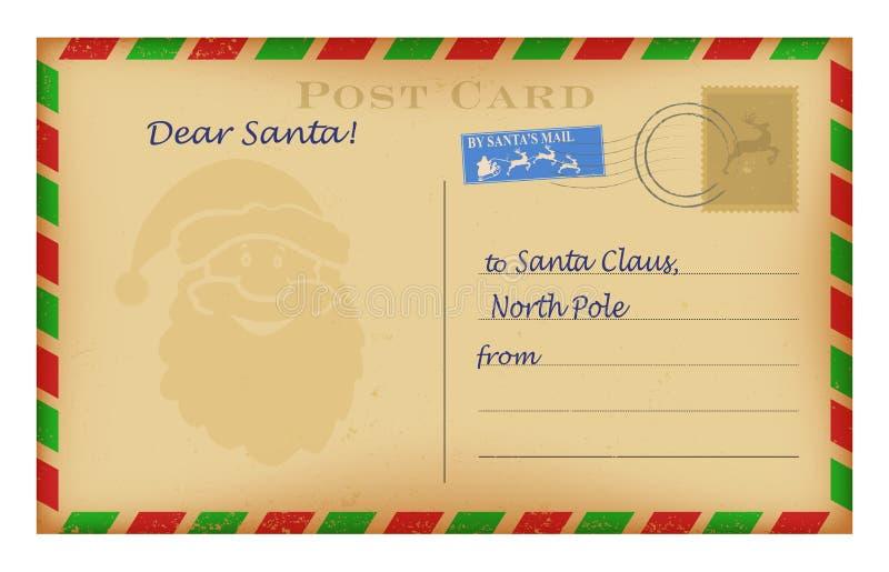 Vector uitstekende Kerstmisbrief aan Kerstmanmalplaatje Het ontwerp van de wenslijst stock illustratie