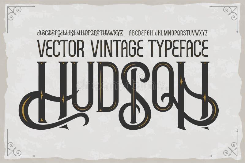 Vector uitstekende lettersoort Hudson Vector doopvont vector illustratie