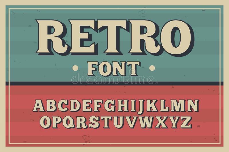Vector uitstekende lettersoort Retro doopvont royalty-vrije illustratie
