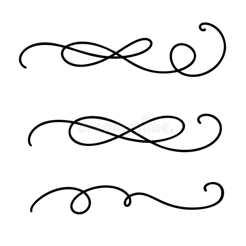 Vector uitstekende lijn elegante verdelers en separators, wervelingen en hoeken decoratieve ornamenten Bloemenlijnen filigraanont royalty-vrije illustratie