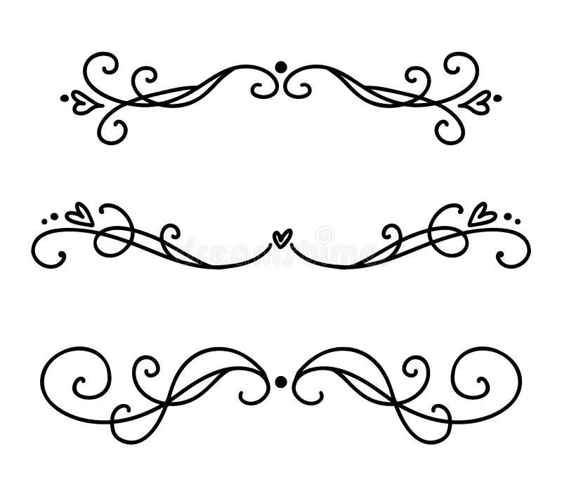 Vector uitstekende lijn elegante verdelers en separators, wervelingen en hoeken decoratieve ornamenten Bloemenlijnen filigraanont vector illustratie