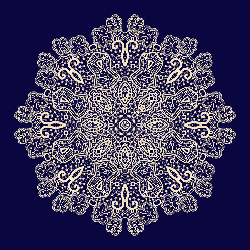 Vector uitstekende met de hand gemaakte gebreide doily, kantpatroon vector illustratie