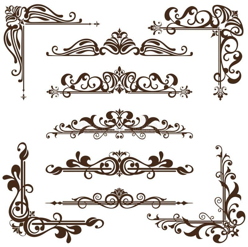 Vector uitstekende ornamenten, hoeken, grenzen royalty-vrije illustratie
