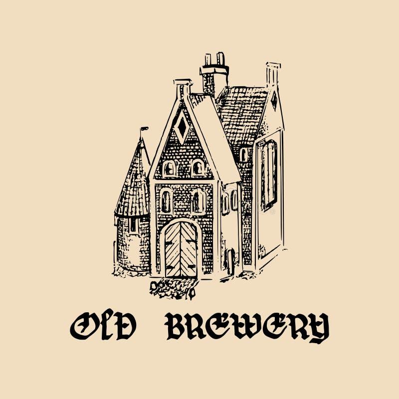 Vector uitstekende oude brouwerij logotype Hand getrokken biersymbool Illustratie met lgothic doopvont voor festaffiches, etikett vector illustratie