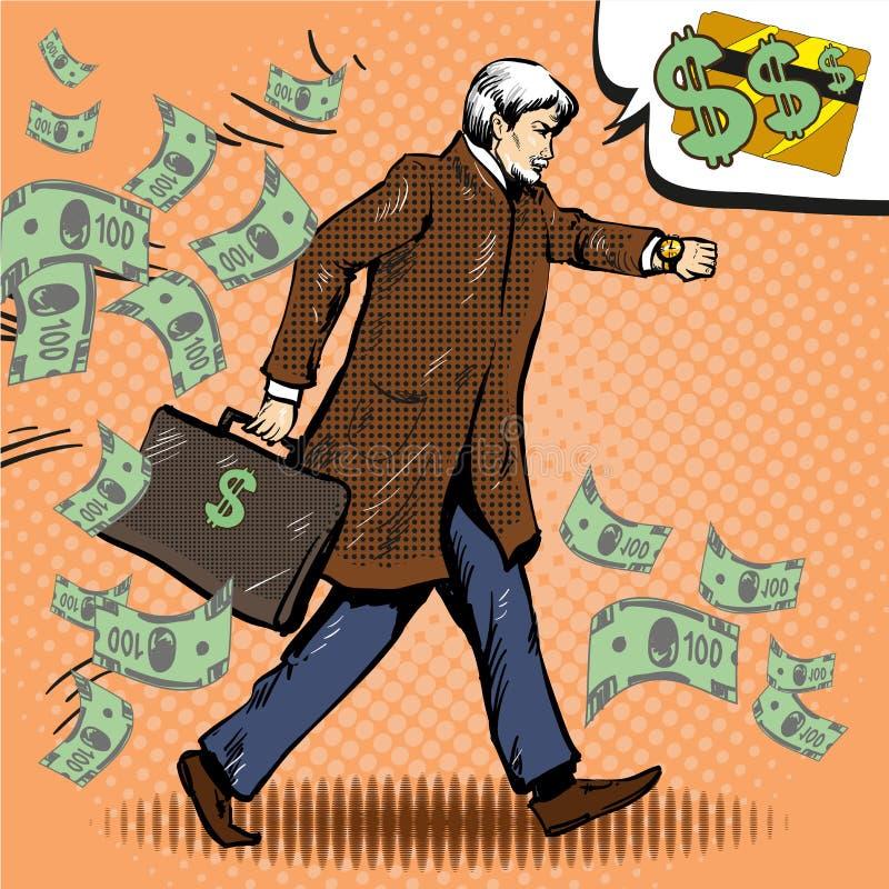 Vector uitstekende pop-artillustratie van lopende zakenman met aktentas royalty-vrije illustratie