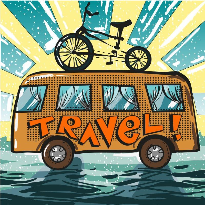Vector uitstekende pop-artillustratie van reisbus en fiets stock illustratie