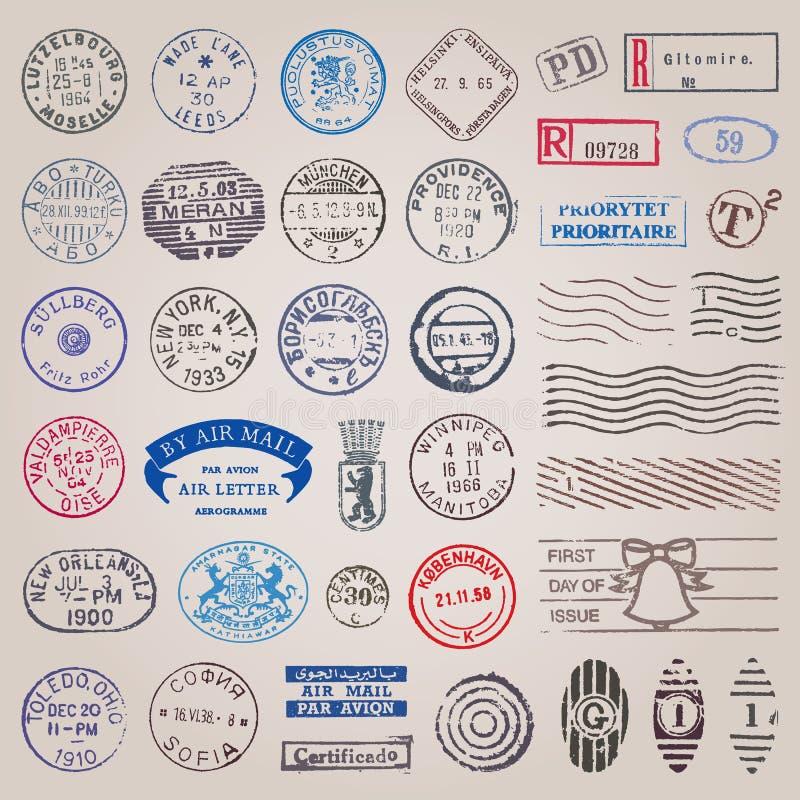 Vector Uitstekende Postzegels royalty-vrije illustratie